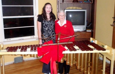 Lia & Grandmother with new 4 octave marimba