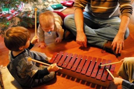 Grandkids play the DIY Xylophone